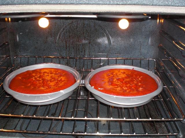 Red Velvet Cake in the Oven